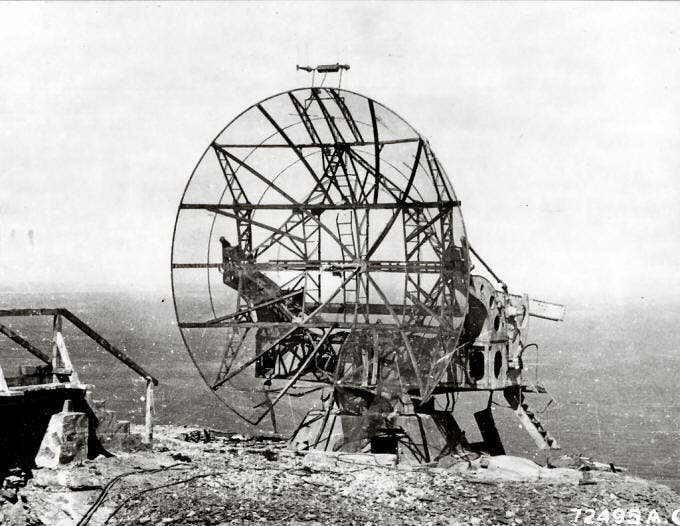 Before and throughout the war, British ground radar technology was rather well matched by German scientific advances. Here, mid-war ground radar station FuMO 214 Würzburg-Riese [US National Archives]