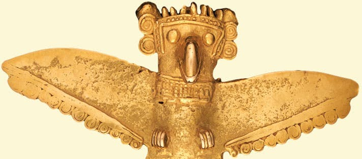 "A striking artifact discovered in Panama, dated 700-1000 CE. ""Winged Pendant, Gran Coclé,"" credit: Gilcrease Museum"