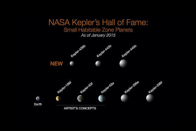 NASA Kepler's Hall of Fame: Of the more than 1,000 verified planets found by NASA's Kepler Space Telescope, eight are less than twice Earth-size and in their stars' habitable zone. All eight orbit stars cooler and smaller than our sun. The search continues for Earth-size habitable zone worlds around sun-like stars. Image: NASA