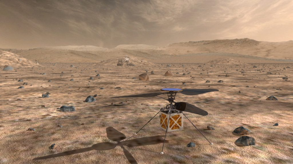 A proposed helicopter could triple the distances that Mars rovers can drive in a Martian day and help pinpoint interesting targets for study.  Image: NASA