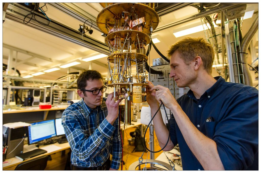 Thomas Sand Jespersen and Peter Krogstrup, here seen in the laboratorie at the Center for Quantum Devices, Niels Bohr Institute, where the research in nanowire crystals are taking place. The nanowire crystals may lie the foundation for future electronics, such as quantum computation and solar cells. Credit: University of Copenhaga