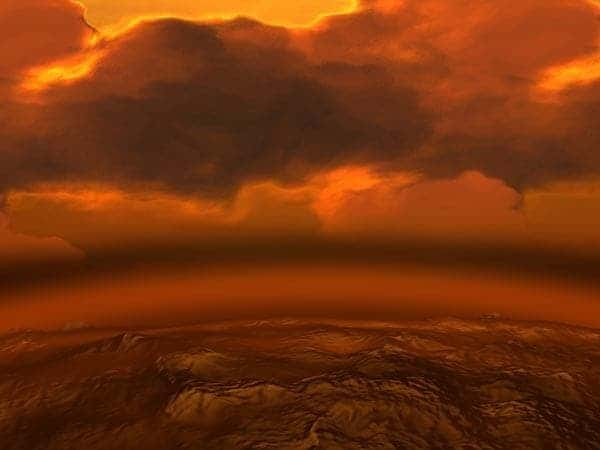 The atmosphere on Venus is mostly made of Carbon Dioxide, with small quantities of sulfuric acid. Image via Daily Galaxy.