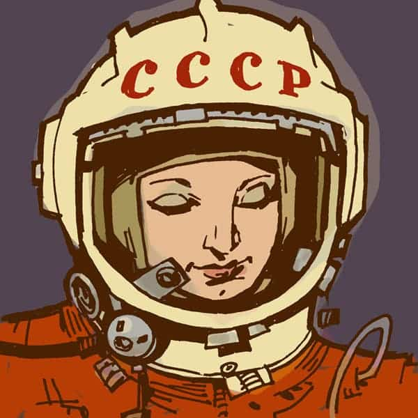 Sketch of Valentina Tereshkova by Phillip J Bond.