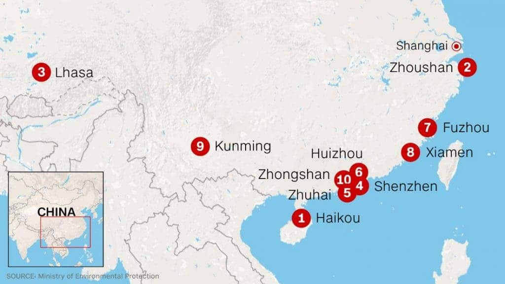 China Map With Major Cities.Only 8 Big Cities In China Meet Air Quality Requirements