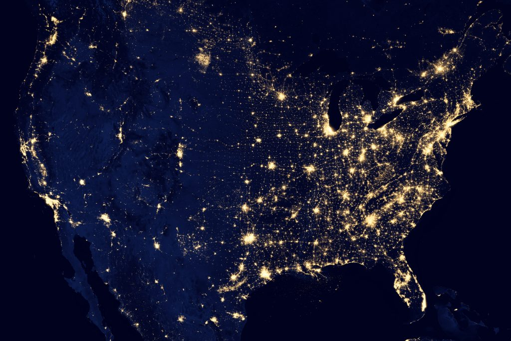 Composite view of continental United States showing Suomi NPP observations of nighttime illumination. Image: NASA