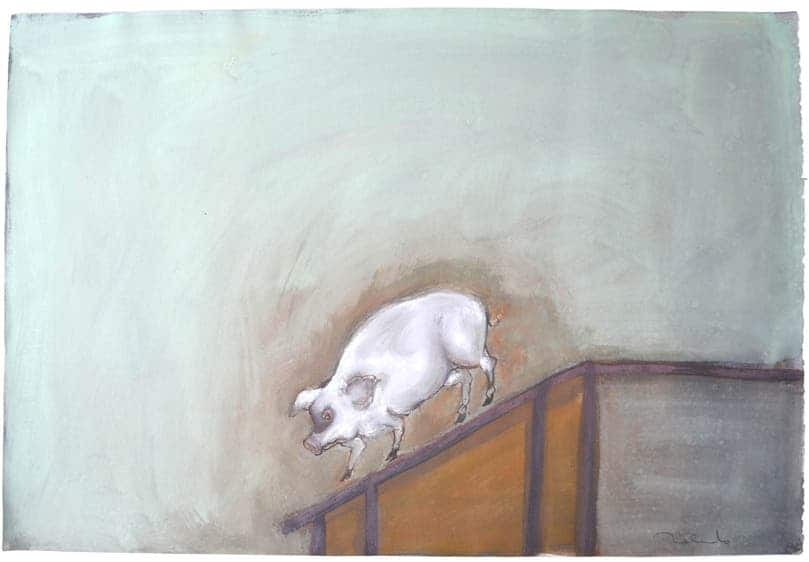 When he learned that pigs can be a source of new strains of influenza, famed Mexican artist Francisco Toledo was highly motivated to create this painting. The pig reminds him of his childhood, when he used to visit an abattoir where his grandfather slaughtered pigs for a living. Francisco says the smell and the way the animal was slaughtered caused a big impression on him. Pigs appear throughout his career in several of his pieces. Here he has prepared a painting using egg tempera on paper of a pig precariously descending a transport ramp.