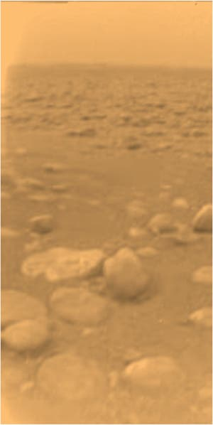 This is how Titan's surface really looks like, as snapped by the Huygens lander in 2005. NASA/ESA/JPL/University of Arizona