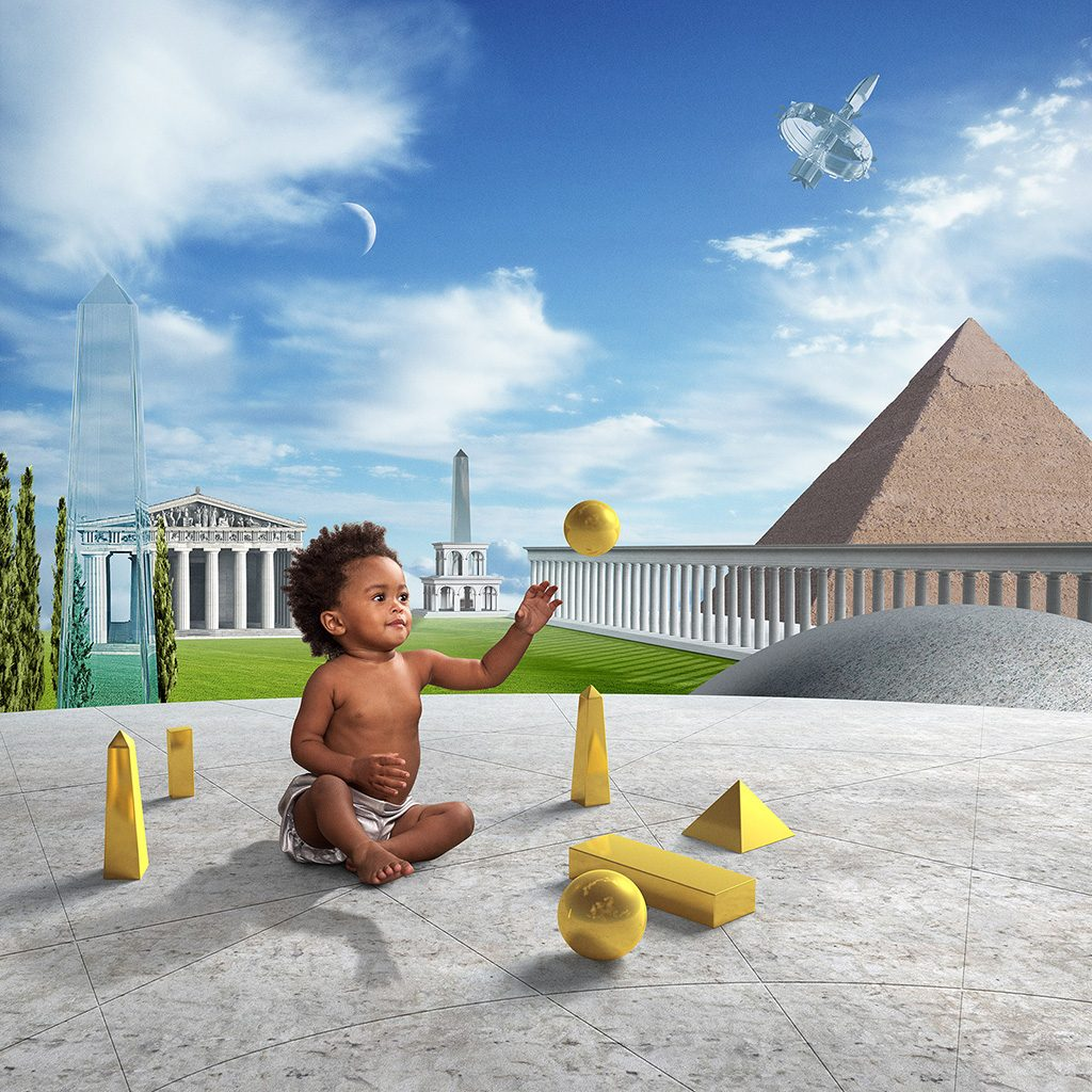 "American photographer Glen Wexler creates a dazzling photo illustration of Jonas Salk's forward-thinking and creative mindset that led him to develop the polio vaccine. Glen's inspiration is Jonas Salk's quote: ""Intuition will tell the thinking mind where to look next."" The digital photograph features a healthy child playing with building blocks, symbolizing the innovation and intuition that Salk embodied in his devotion to finding a solution to polio, historically one of the world's biggest cripplers of children. Glen says the architectural structures represent global accomplishments, while the shiny building blocks tell the story of each new generation building on the achievements of the past by intuitively tapping into infinite creative possibilities."