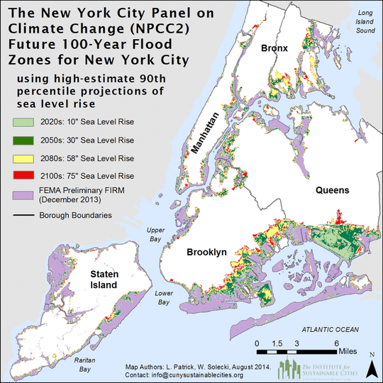 The panel highlighted the most vulnerable NYC areas in the face of future floods. Image: NYC Panel of Climate Change