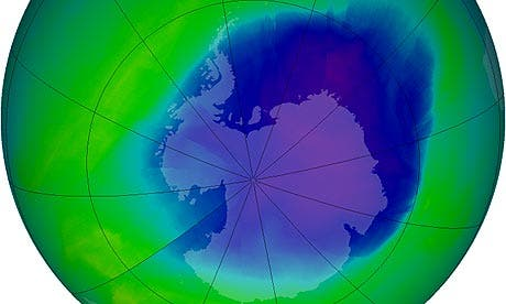 Nasa graphic showing the extent of the ozone hole over Antarctica Public domain