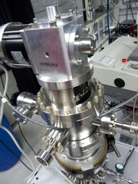 "Researchers at the Caltech-managed Jet Propulsion Laboratory in Pasadena, Calif., use a cryostat instrument, nicknamed ""Himalaya,"" to study the icy conditions under which comets form. Credit: NASA/JPL-Caltech"