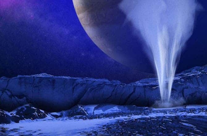 Artistic representation of water plums spurting out of Europa. Image via Daily Galaxy.
