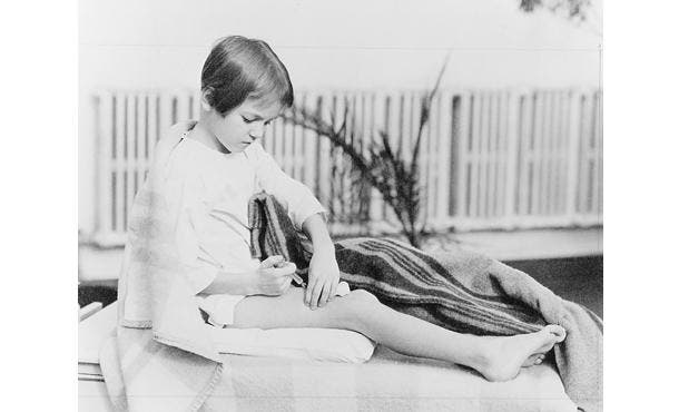 Girl injecting herself with insulin (Lilly Girl), 1930. Photograph. Courtesy of Eli Lilly and Company Archives.