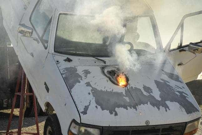Lockheed demoed a high power laser which destroyed a vehicle's engine (seen above), rendering it useless. Image: Lockheed