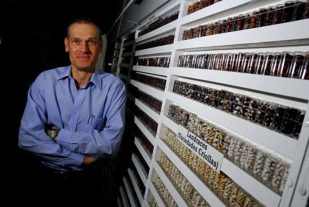 Daniel Debouck and his beans collection. Credit: Neil Palmer, CIAT