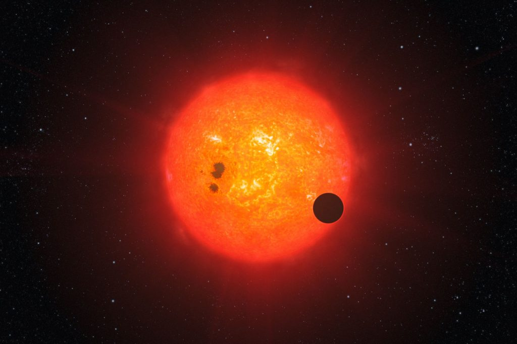 Planets outside our solar system are called exoplanets. The Kepler satellite observes exoplanets by measuring the light curve of a star. When a planet moves in front of the star there is a small dip in brightness. If this little dip in brightness occurs regularly, there might be a planet orbiting the star and obscuring its light.  Image credits: ESO.