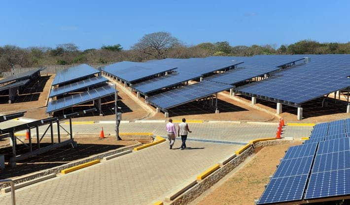 Photovoltaic power plant in Diriamba, about 25 miles from Managua. Image: Hector Retamal/AFP/Getty Images