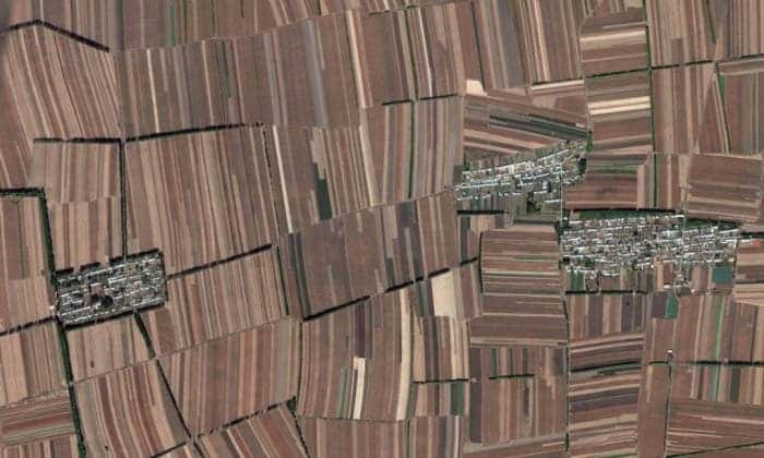 No room for nature, the entire landscape is devoted to crop production in China. Photograph: Google Earth/2014 Digital Globe