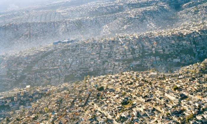 Sprawling Mexico City rolls across the landscape, displacing every scrap of natural habitat