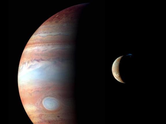 This montage of New Horizons images shows Jupiter and its volcanic moon Io, and were taken during the spacecraft's Jupiter flyby in early 2007. Image: NASA