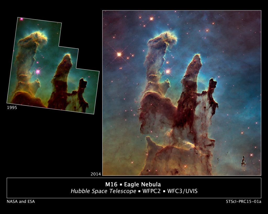 The original 1995 image was beautiful. Compare this view to the 2014 image in a side-by-side montage. Image: NASA