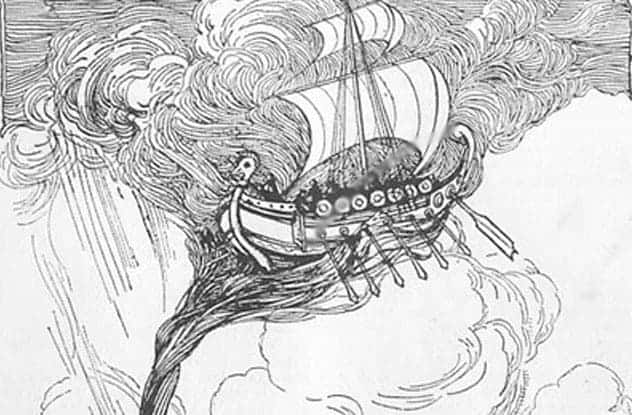 Lucian of Samosata's ship getting swept up to the moon by a tempest.