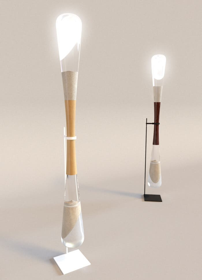 The Hourglass Lamps are powered by kinetic energy generated from the falling of sand.