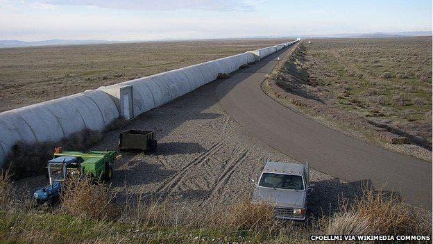 A part of the four kilometer L-shaped vacuum tube of LIGO.