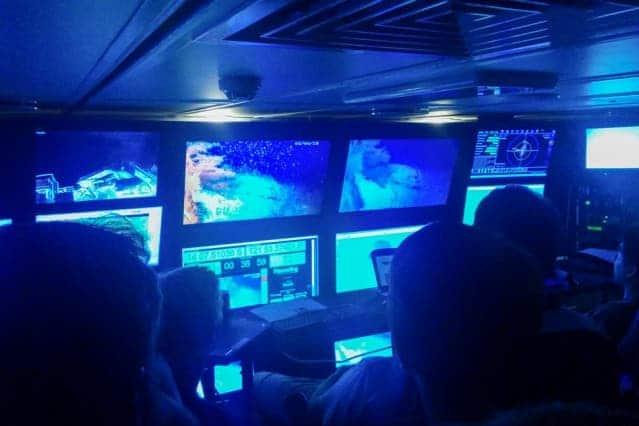 Researchers watch underwater footage taken by various AUVs exploring Australia's Scott Reef. Image: MIT