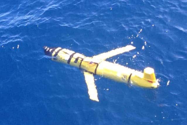 A Slocum glider, used by the MIT team, navigates underwater. Credit: MIT