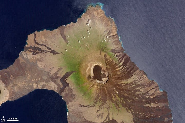 Wolf volcano view from satellite. The volcano was named after Theodor Wolf a German geologist who studied the Galapagos Islands in the 19th century. Image: Wikipedia