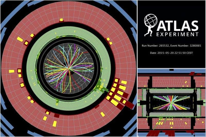 Protons collide at 13 TeV sending showers of particles through the ATLAS detector (Image: ATLAS)