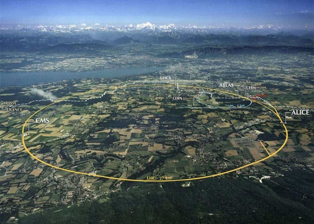 Aerial view of the LHC at CERN. Image: CERN