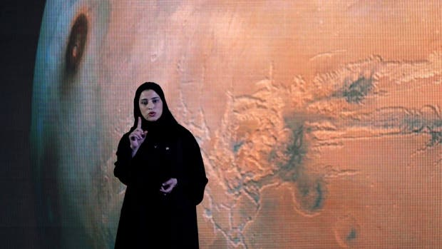 Sarah Amiri, Deputy Project Manager of a planned United Arab Emirates Mars mission talks about the project named 'Hope,' which is scheduled be launched in 2020, during a ceremony in Dubai, UAE, Wednesday, May 6, 2015. (AP / Kamran Jebreili)