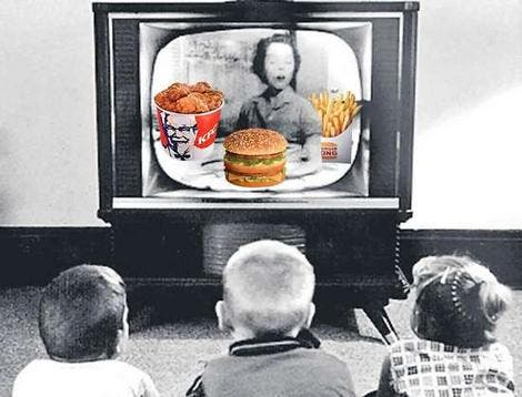 About a quarter of commercial television advertisements are for food.