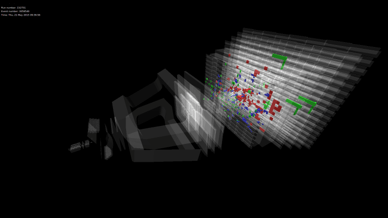 Protons collide at 13 TeV sending showers of particles through the LHCb detector (Image: LHCb)