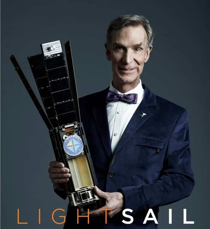 Bill Nye with the LightSail, posing for the KickStarter campaign that raised more than $400,000. Image: KickStarter