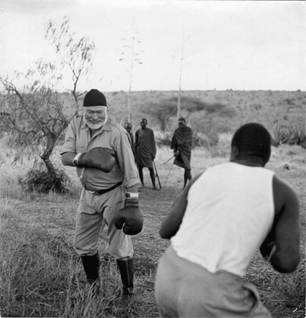 Hemingway boxing in Africa.