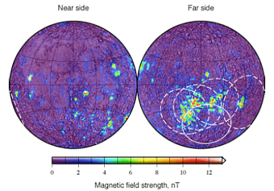 The Moon's most intense magnetic field, strong enough in places to hollow-out a mini-magnetosphere in the solar wind, is found on the opposite side of the Moon from Mare Crisium, around the Far side Gerasimovich craters. Accompanying those fields are swirl albedo anomalies, though they are more difficult for the eye to trace out from the brighter highland terrain background. Credit: Lunar Networks