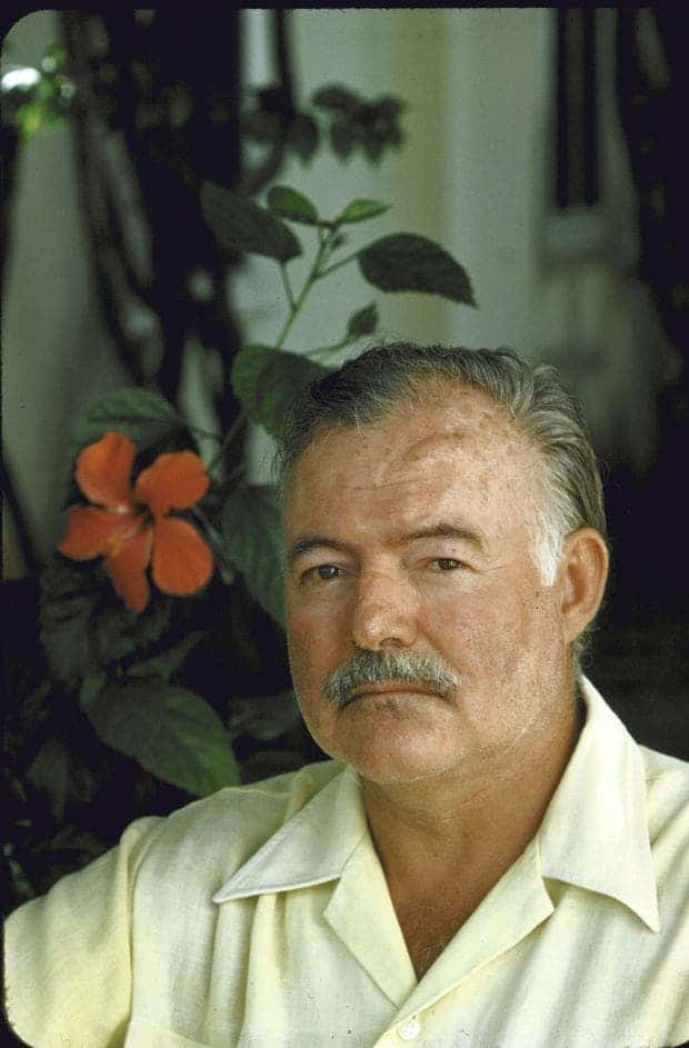 Colour photograph of Hemingway.