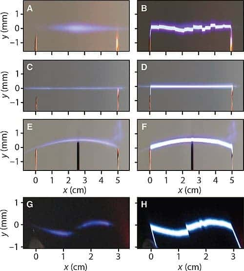 Different shapes of discharge are achieved based on the type of beam used. Images A and B: Gaussian beam (control); C and D: Bessel beam; E and F: Airy beam; G and H: S-shaped beam obtained by combining two conventional Airy beams. Left: Photographs taken when no voltage is applied (only the laser beam is visible). Right: Discharge in the presence of high voltage between the two electrodes. (Image credit: INRS)
