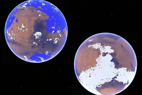 Harvard researchers used a 3-D atmospheric circulation model to compare a water cycle on Mars under different scenarios 3 to 4 billion years ago. The left rendering looks at Mars as a warm and wet planet  and the other as a cold and icy world.  Image courtesy of Harvard John A. Paulson School of Engineering and Applied Sciences