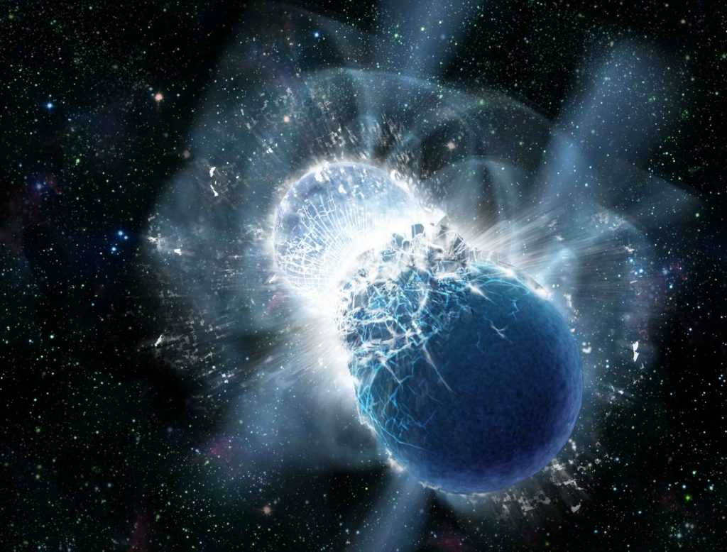 In this high-energy event, two neutron stars collide. Scientists believe the glowing aftermath is the origin of elements such as gold. Image via: popsci.com