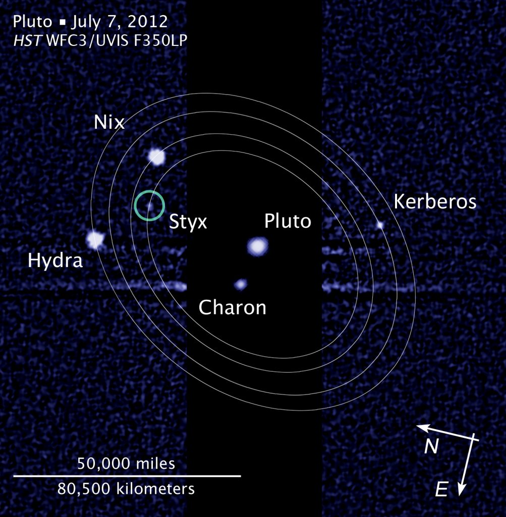 The Pluto system: Pluto, Charon, Nix, Hydra, Kerberos, and Styx, taken by the Hubble Space Telescope in July 2012.