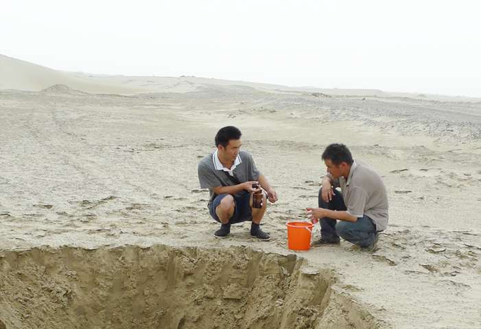 Chinese researchers analyzed the stored carbon in water running in underground aquifers beneath the Tarim Basin. The amount of carbon carried by this underground flow increased quickly when the Silk Road, which opened the region to farming, began 2,000 years ago. Credit: Yan Li