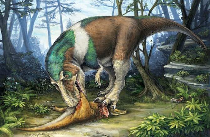 Gorgosaurus feeding on a young Corythosaurus in Alberta, Canada, 75 million years ago. Image: Danielle Dufault