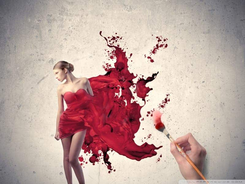 painting woman red