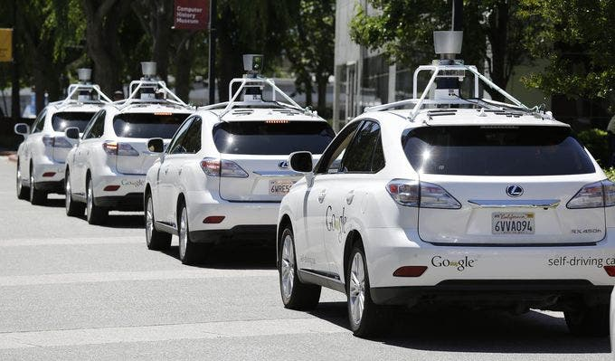 A band of Google's self-driving Lexus vehicles. Image: Google