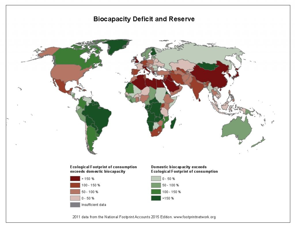Biocapacity reserves and deficit per country. Image via footprintnetwork
