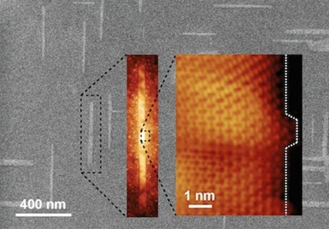 Zoom in of graphene nanoribbon on germanium. Image: Arnold Research Group